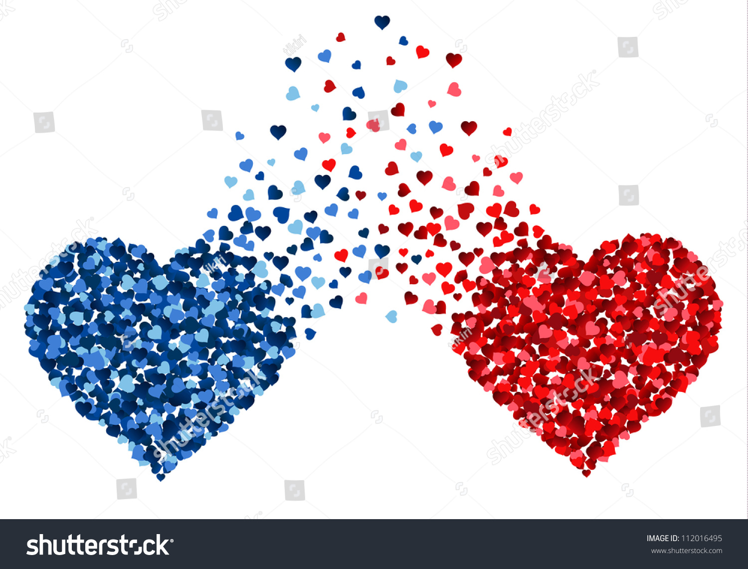Two Hearts Made Small Hearts Mixing Stock Vector 112016495