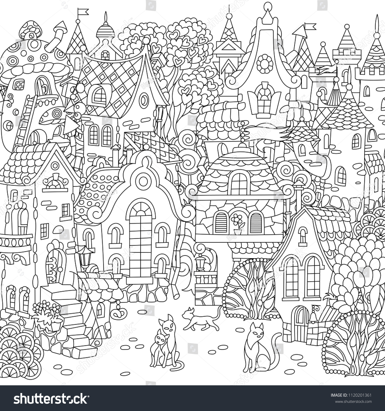 Fairy Tale Town City Landscape Fantasy Stock Vector Royalty Free 1120201361