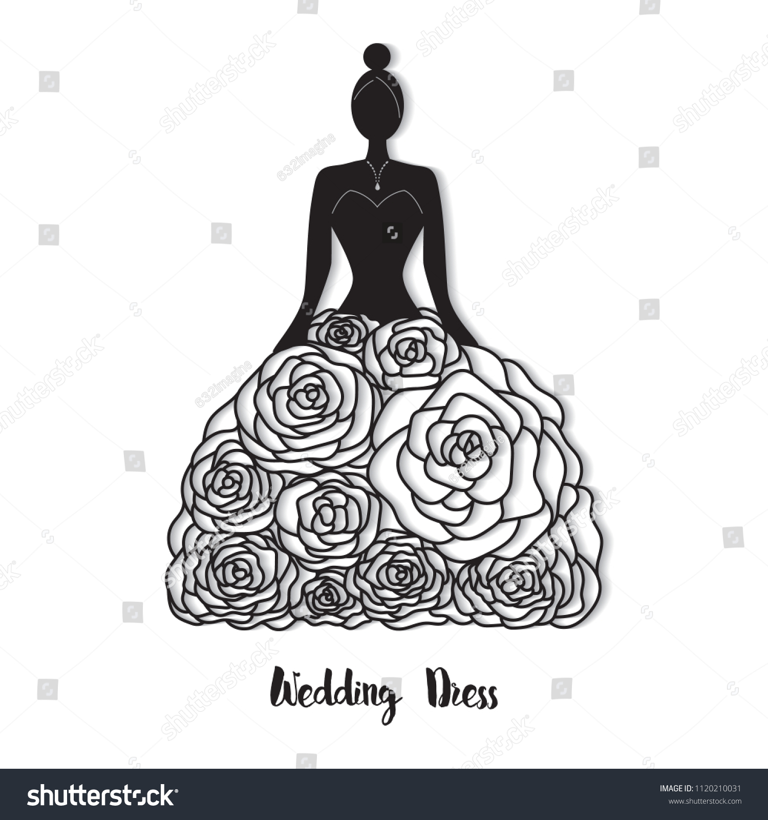 Ornate Wedding Dress Laser Cut Template Stock Vector (Royalty Free ...
