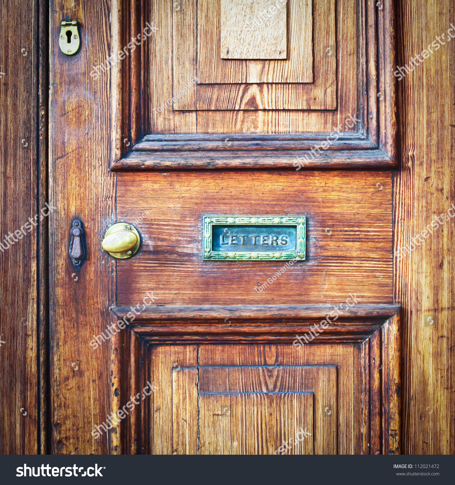 A wooden vintage front door with a letter box & Wooden Vintage Front Door Letter Box Stock Photo 112021472 ... Pezcame.Com
