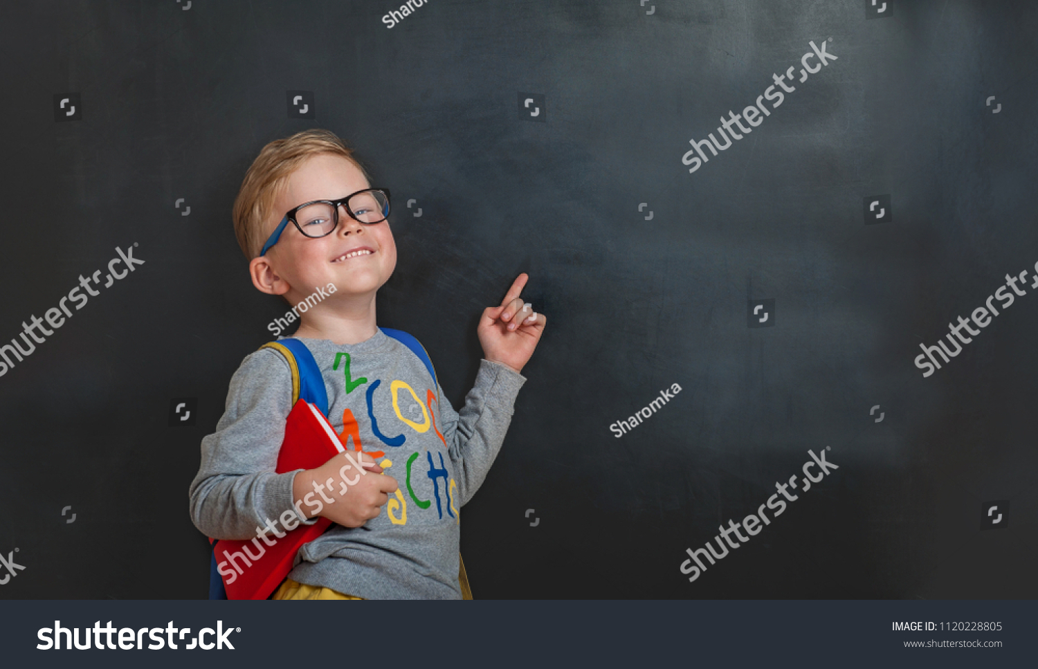 Back to school. Funny little boy in glasses pointing up on blackboard. Child from elementary school with book and bag. Education. #1120228805