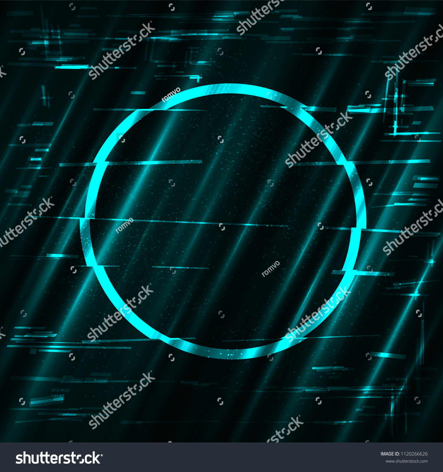 glitch blue circle light shape template stock illustration