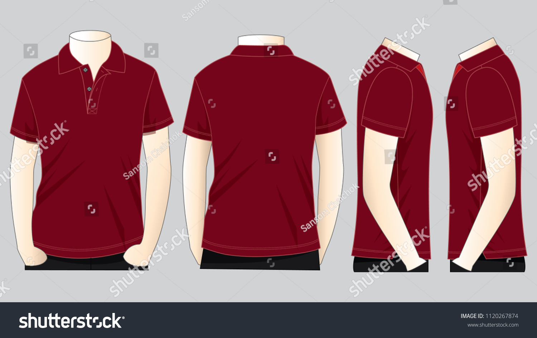 Set Crimson Polo Shirt Template Stock Vector Royalty Free