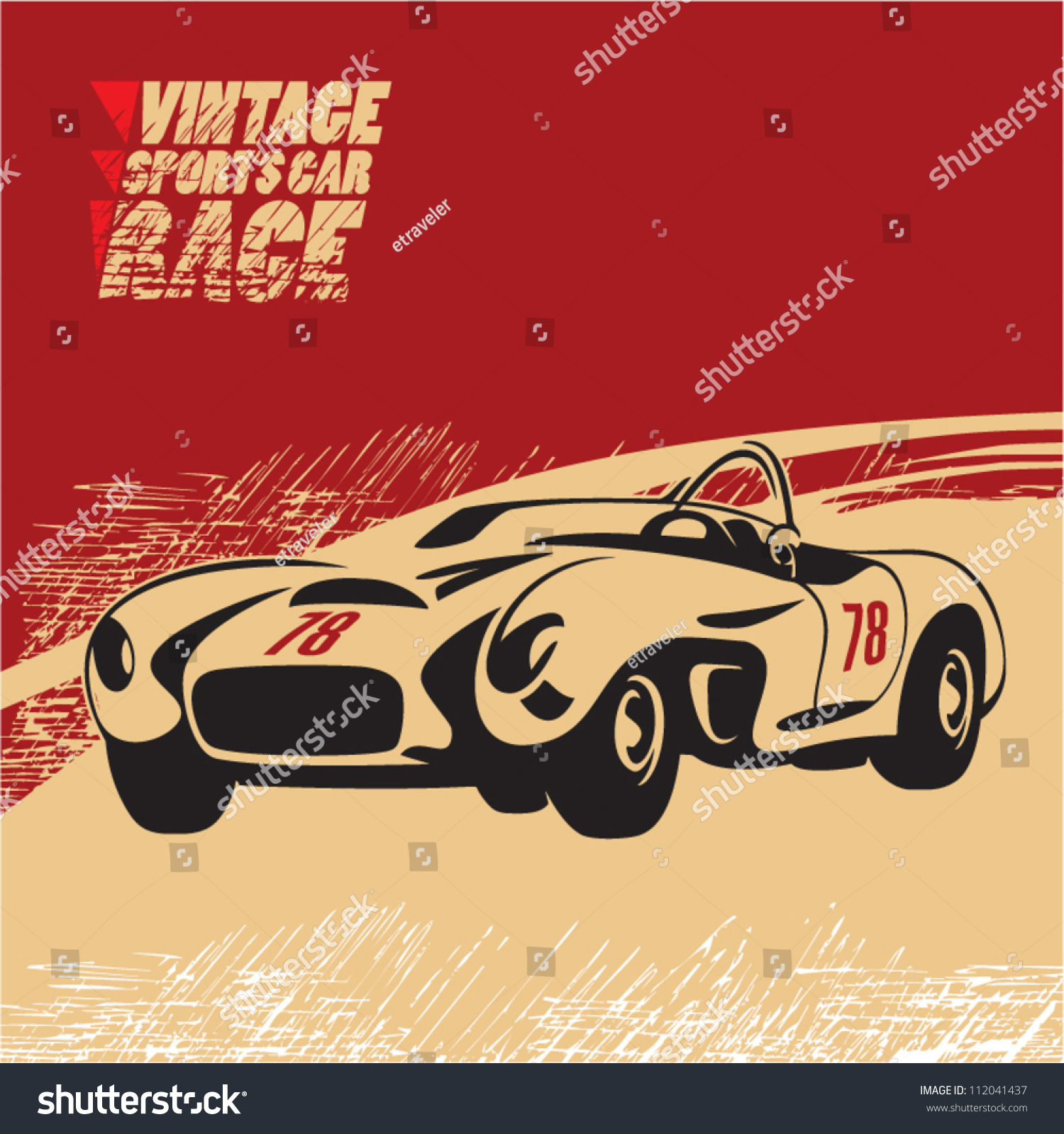 Vintage Sports Car Race Stock Vector 112041437 - Shutterstock