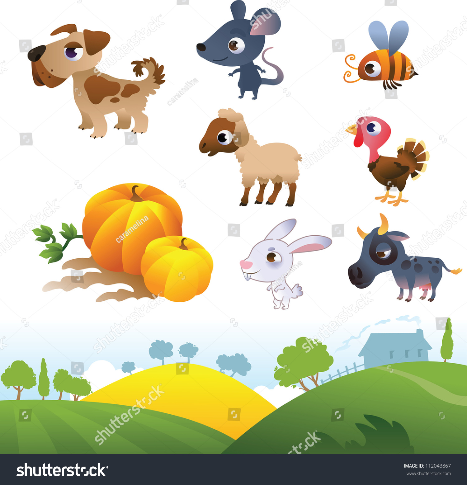 Farm landscape clip art