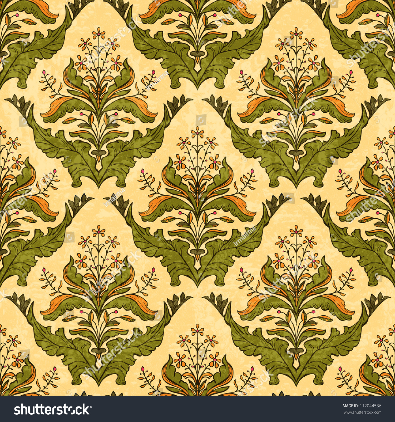 Classic Floral Wallpaper Stylized Plants Seamless Stock