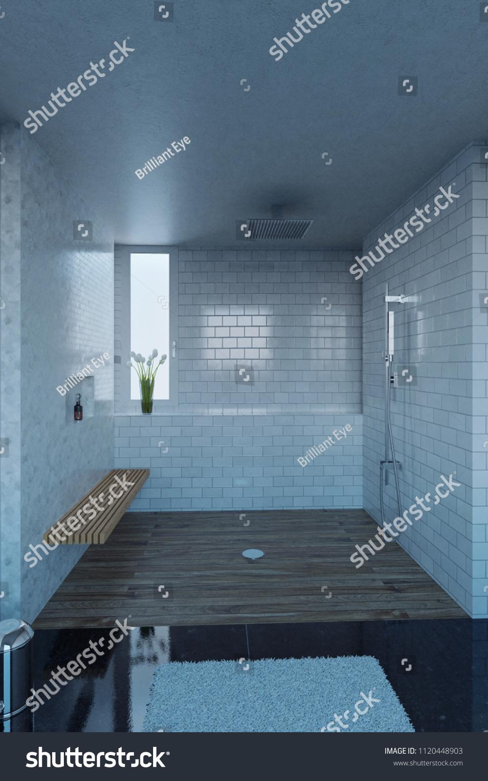 3 D Rendering Shower Tray White Tiles Stock Illustration 1120448903 ...