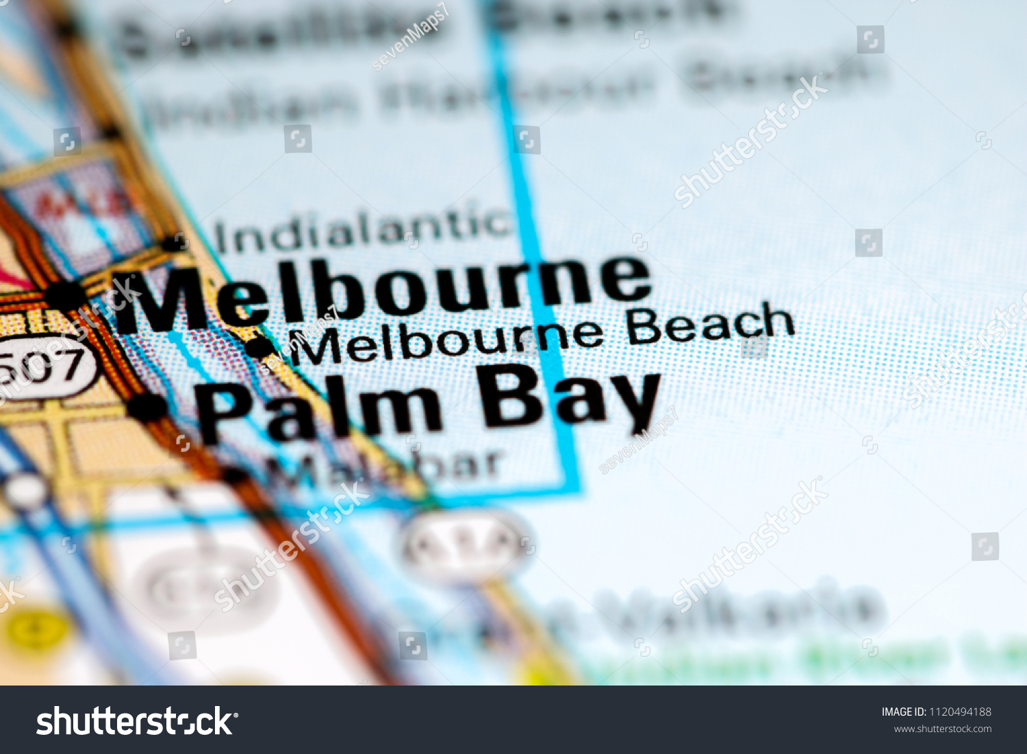 Melbourne B Each Florida Usa On Map Stock Photo Edit Now