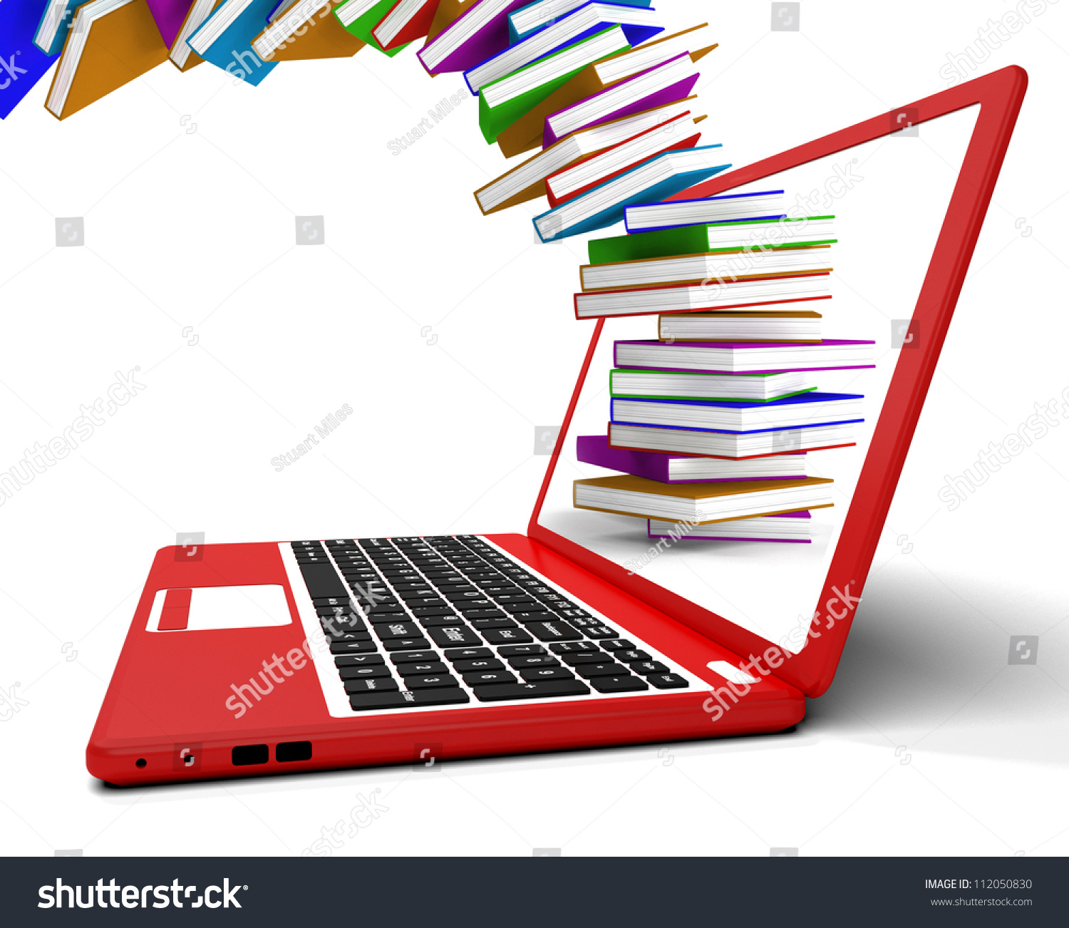 Stack Books Flying Computer Showing Online Stock