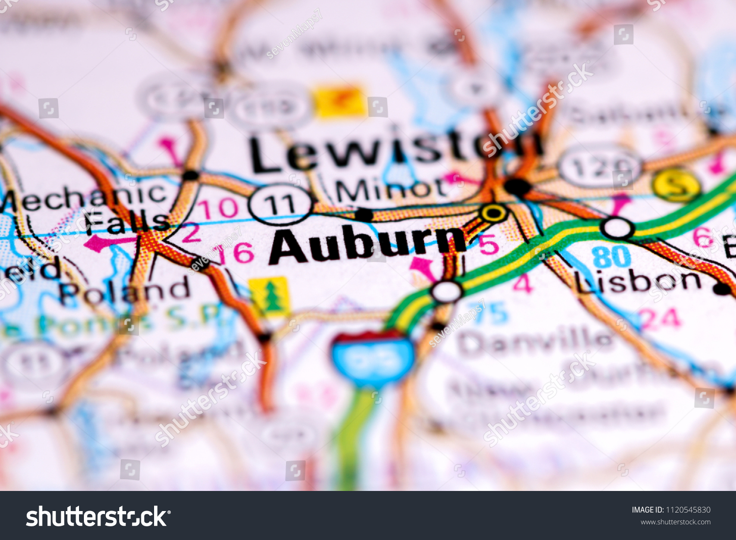 Auburn Maine Usa On Map Stock Photo Edit Now 1120545830 Shutterstock