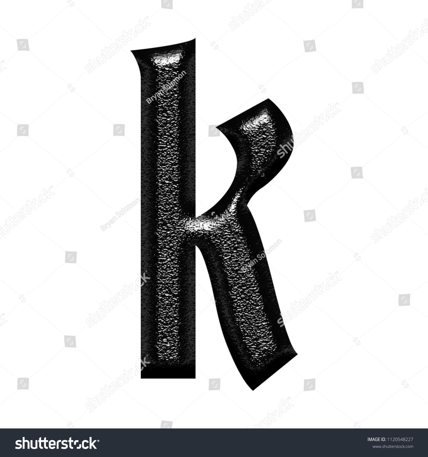 Rough Chiseled Black Metal Letter K Stock Illustration