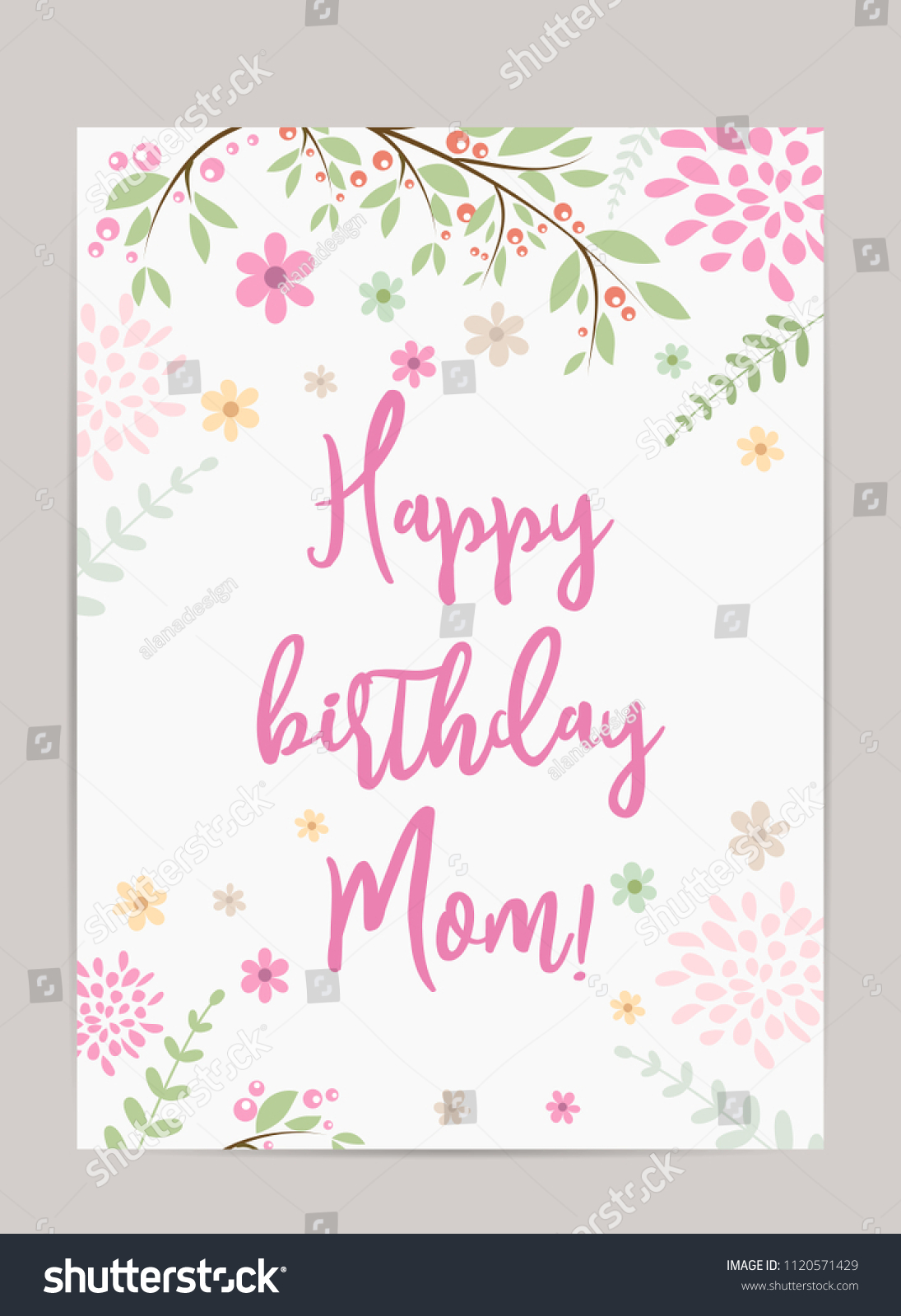 Happy Birthday Mom Holiday Background Template For Greeting Card Pretty Old