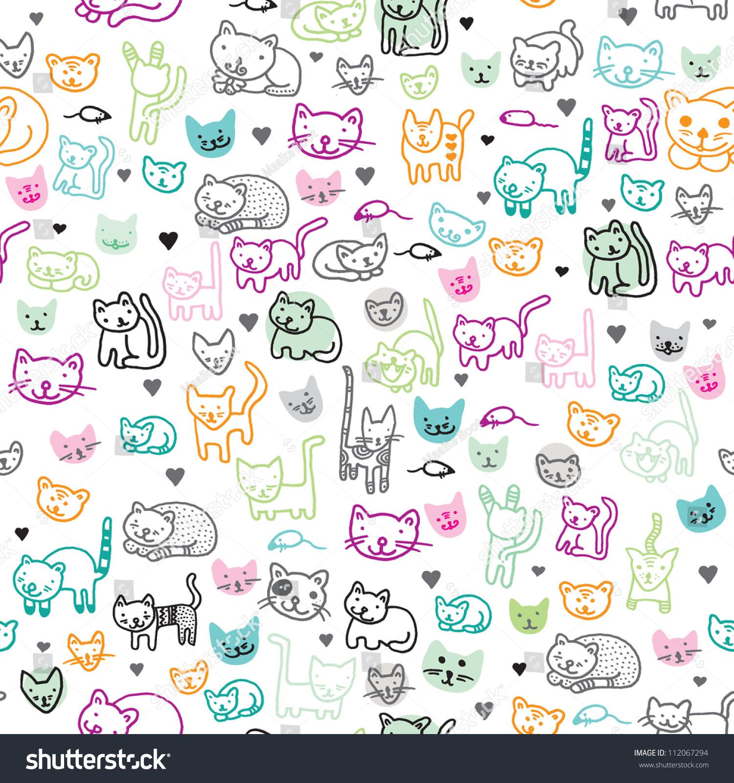 Seamless Kitten Cat Illustration Kids Background Stock