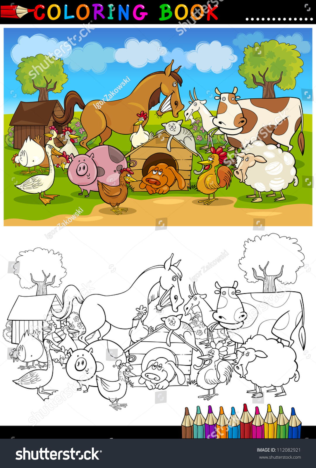 Coloring book pages farm animals - Coloring Book Or Page Cartoon Illustration Of Funny Farm And Livestock Animals For Children Education
