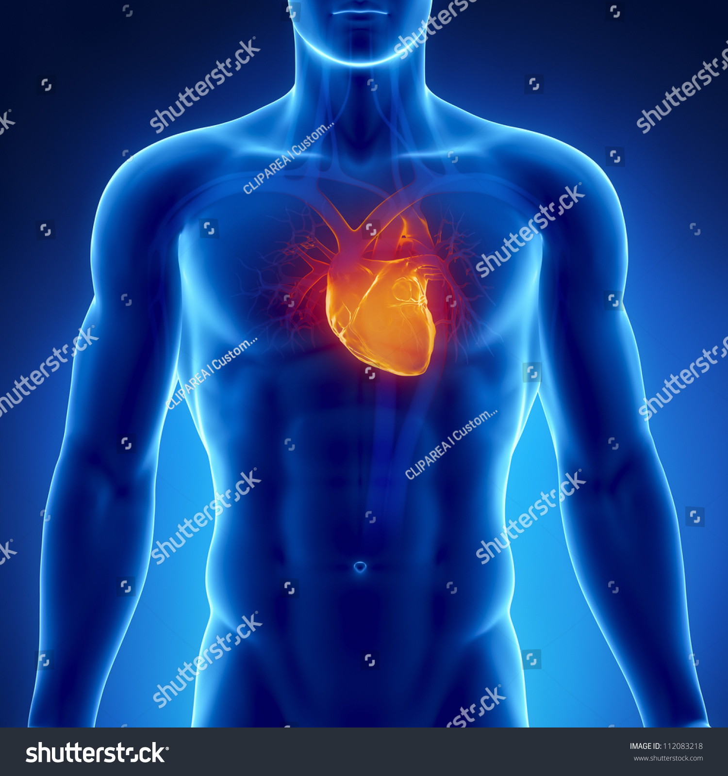 Glowing Heart Male Chest Footage Available Stock Illustration
