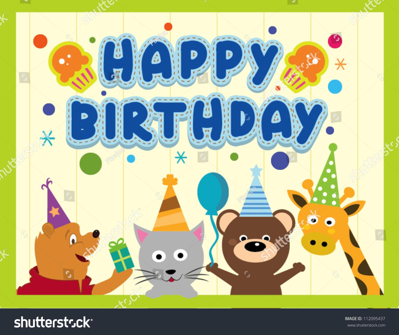 Happy Birthday Card Design With Cute Animals