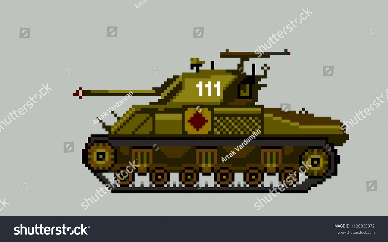 Soviet Tank World War Iipixel Art Stock Vector (Royalty Free