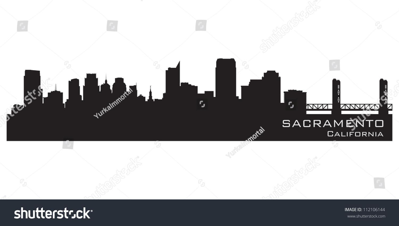 Sacramento California Skyline Detailed Vector Silhouette