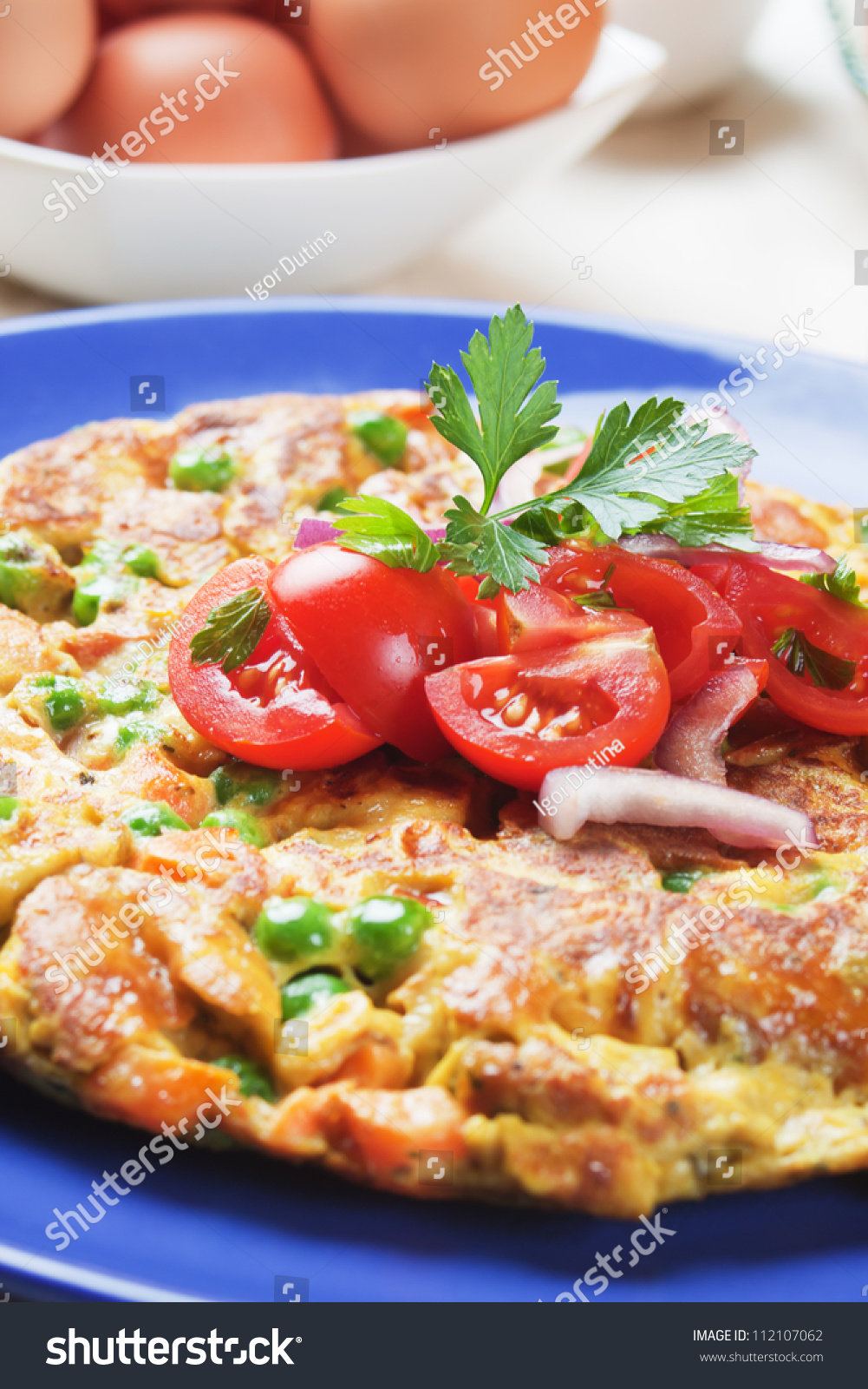 Frittata Omelet With Tomato And Onion Salad Stock Photo ...