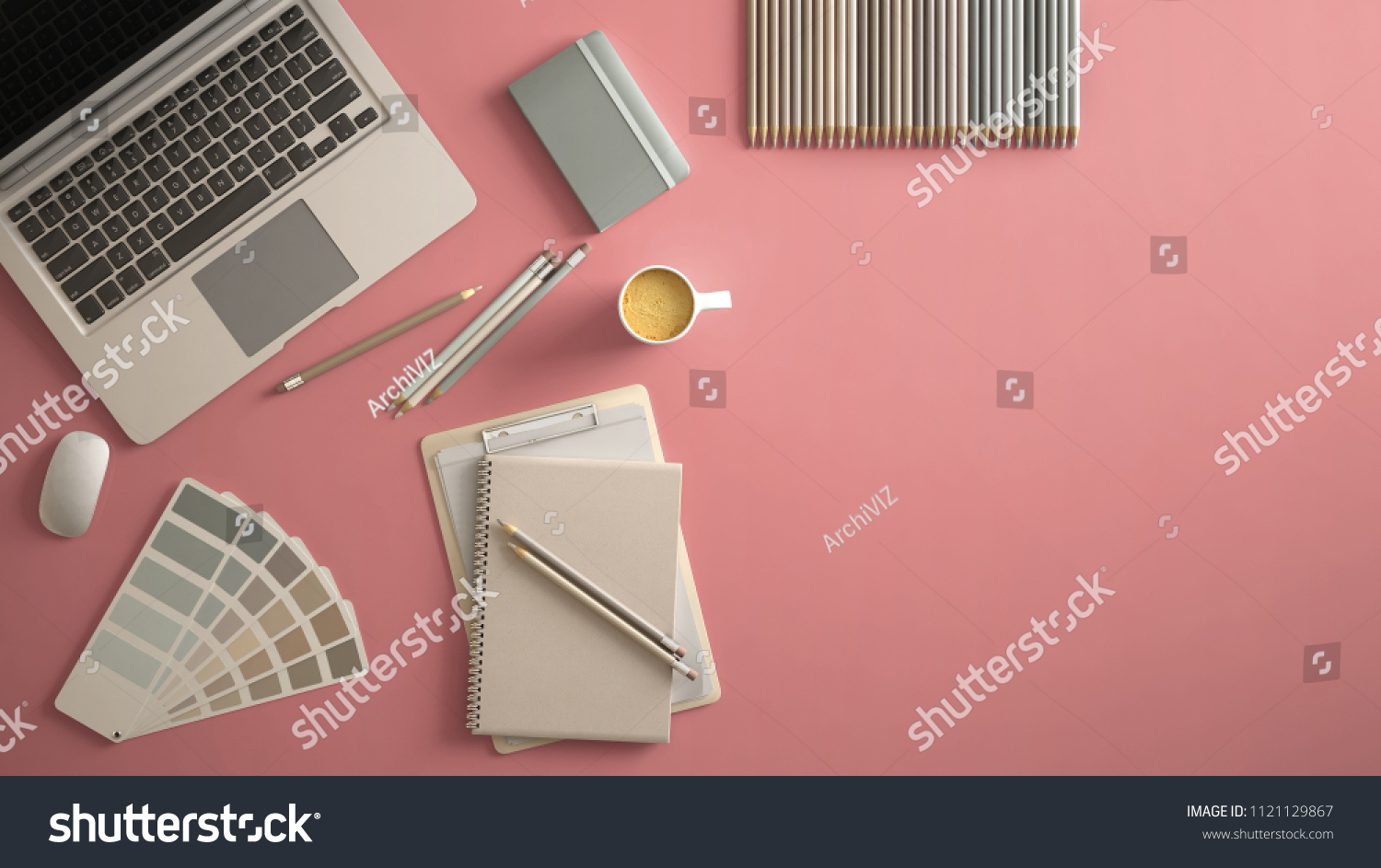 office color palette red stylish minimal office table desk workspace with laptop notebook pencils coffee cup minimal office table desk stock illustration