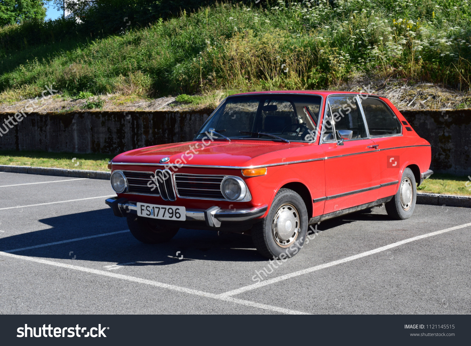 Old Style Red Bmw Car Kongsvinger Stock Photo Edit Now 1121145515