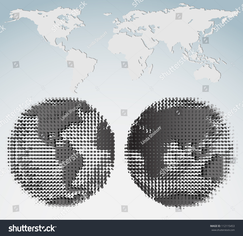 Halftone world map globes stock vector 112115453 shutterstock halftone world map and globes gumiabroncs Images