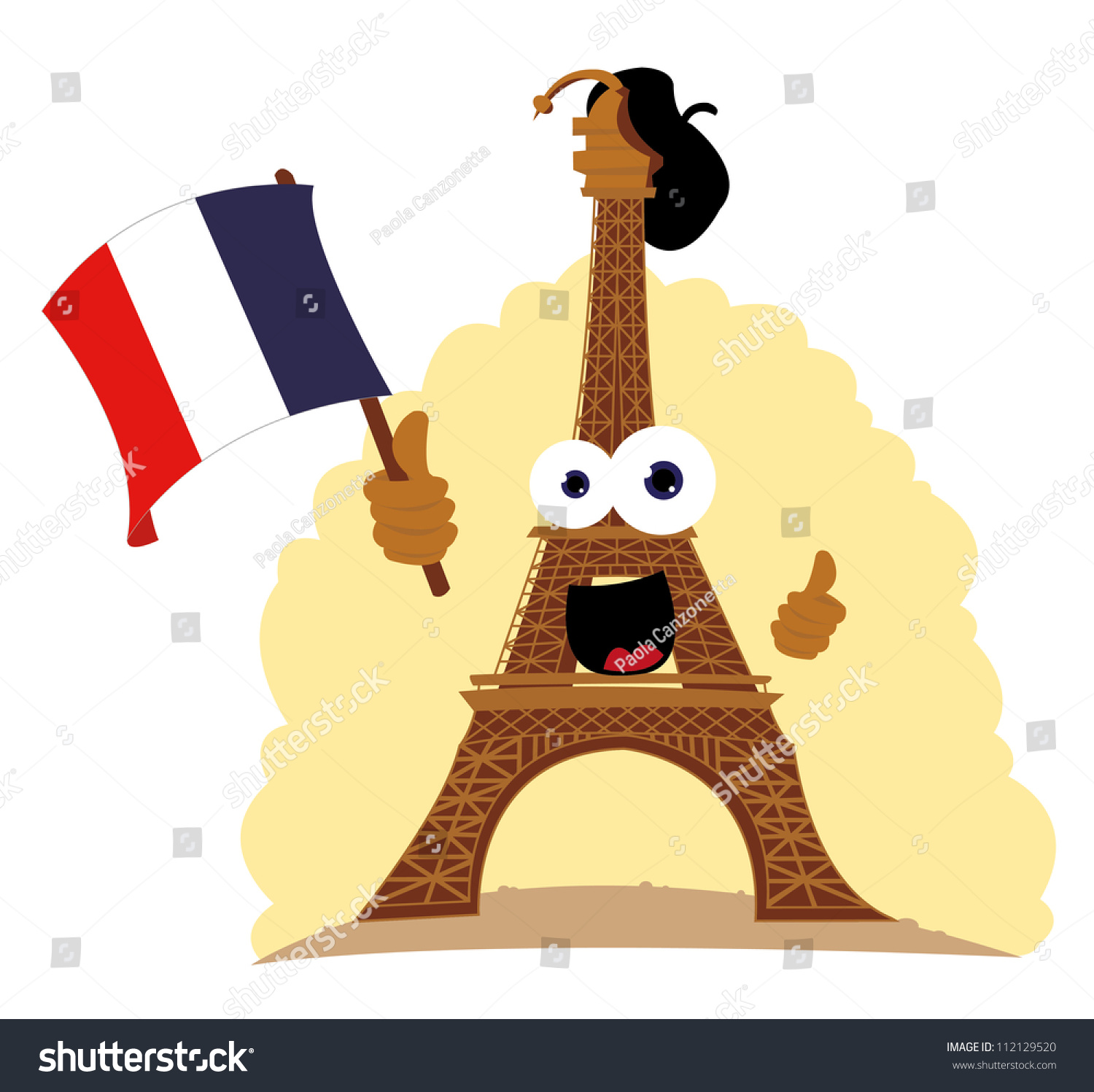 Super Vector Cartoon Representing Funny Tour Eiffel Stock Vector  JB75