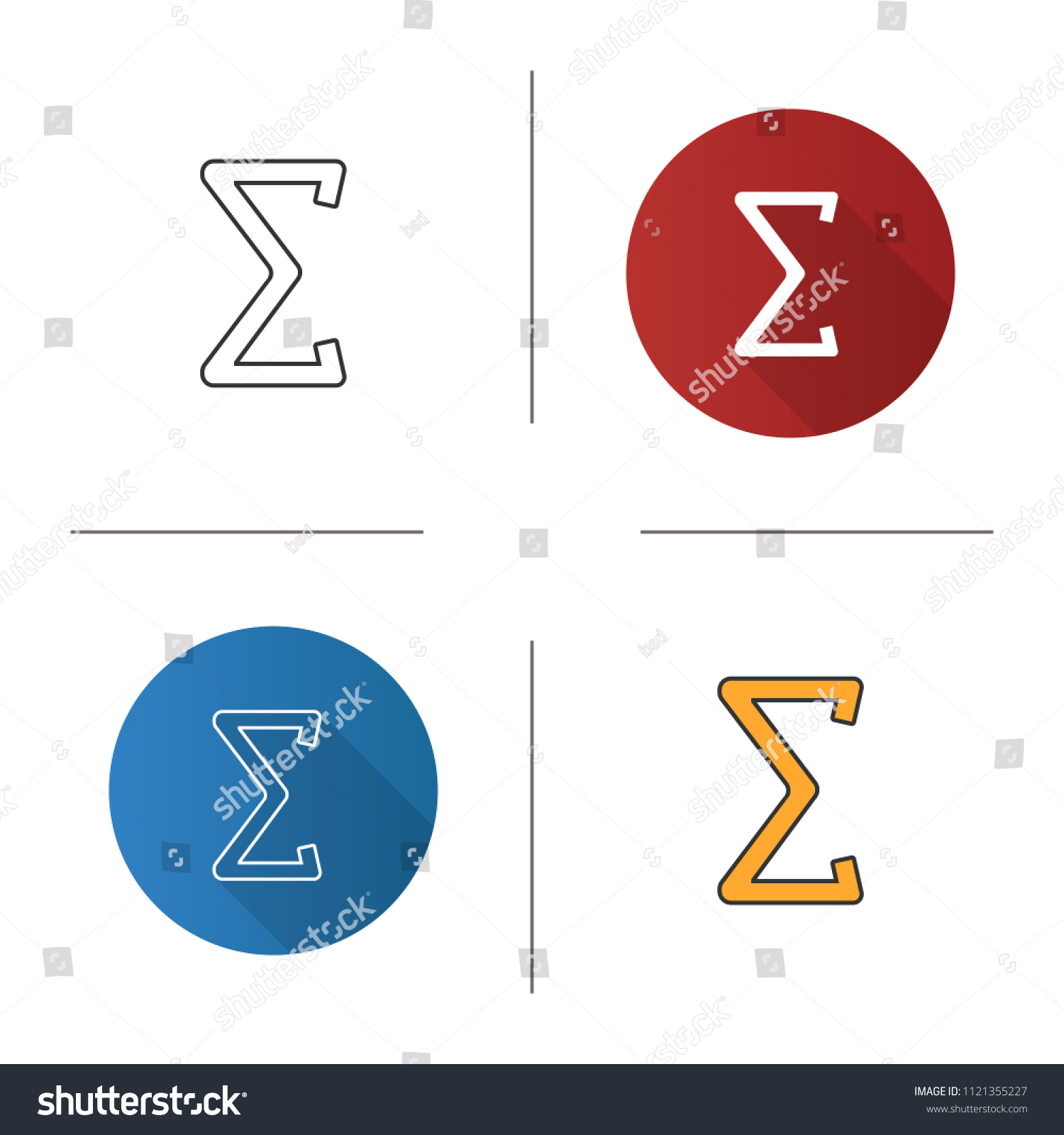Summation Icon Sum Total Math Symbol Flat Stock Vector Royalty Free