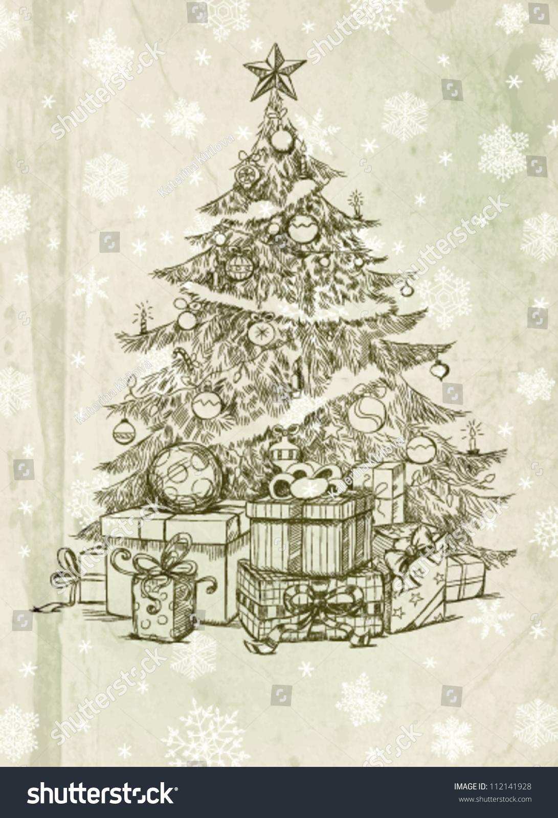 Realistic christmas tree drawing - Hand Drawn Christmas Tree And Gifts