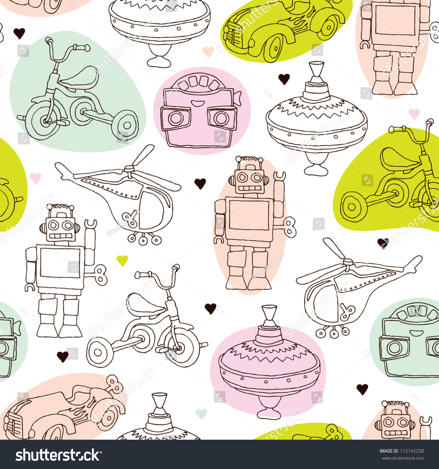 Seamless Vintage Kids Toys Background Pattern Stock Vector