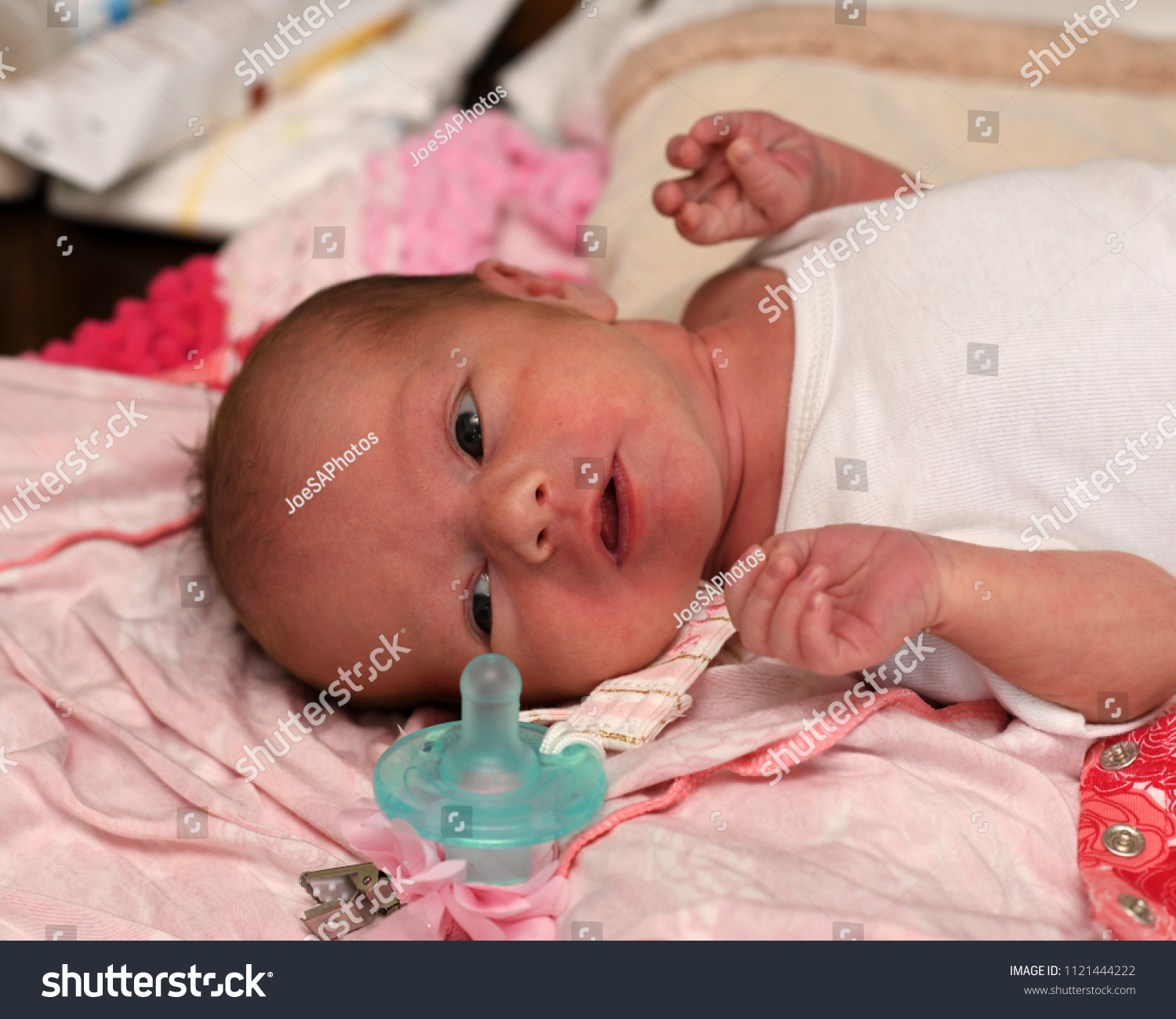 5a118fae1d5a Newborn Baby Girl Waiting Mom Change Stock Photo (Edit Now ...