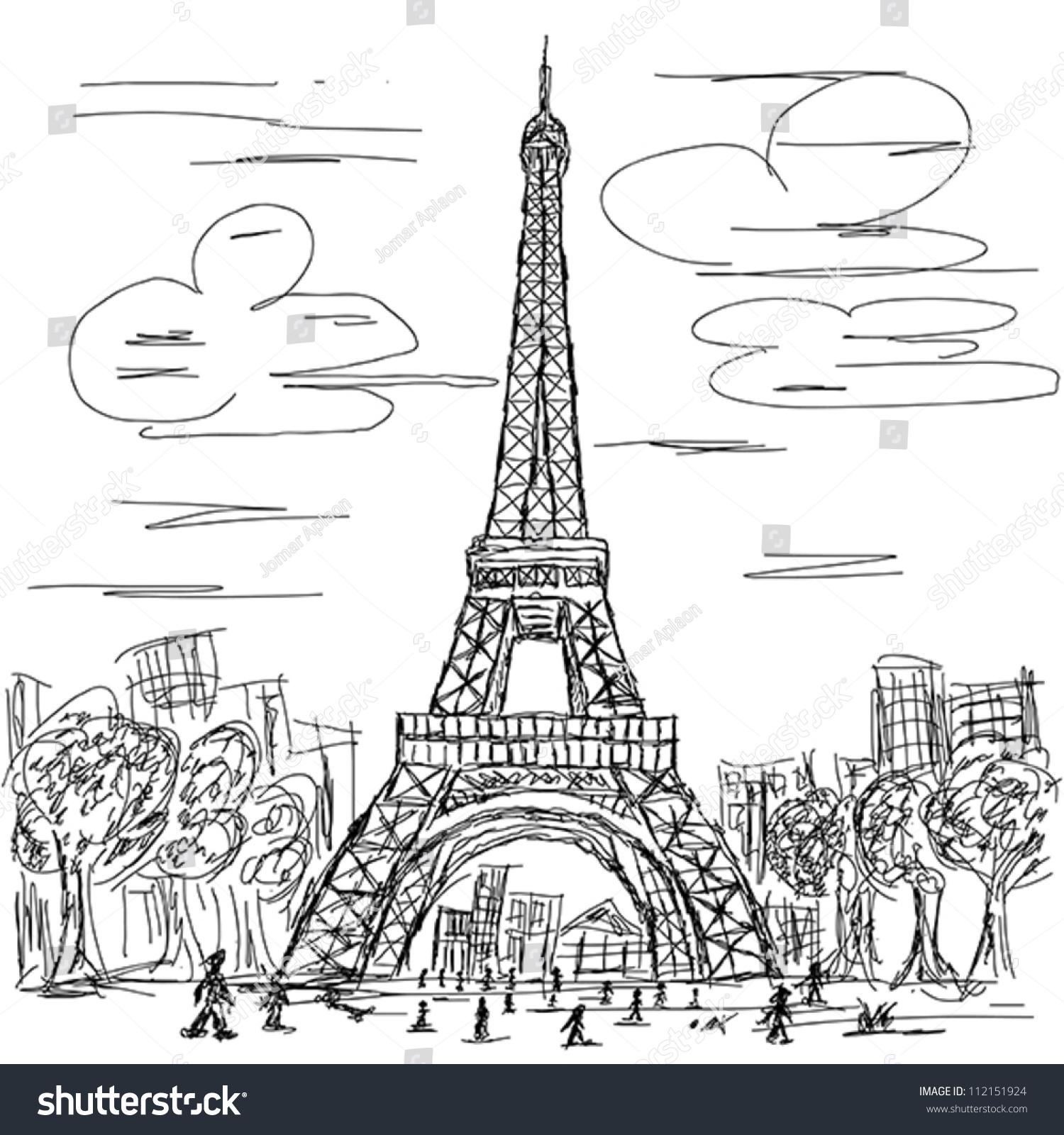 Paris Illustration: Hand Drawn Illustration Eifel Tower Paris Stock Vector