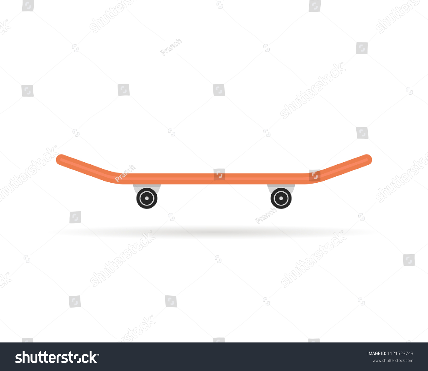 f739f8782a3d0 simple skateboard icon with shadow. cartoon flat style trend modern  logotype graphic art design isolated