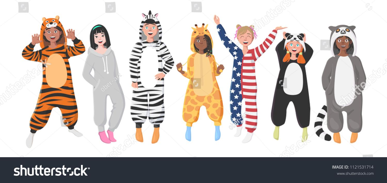 c7d379f6730c Kids Plush One Piece Pajamas Hooded Onesie Stock Illustration ...