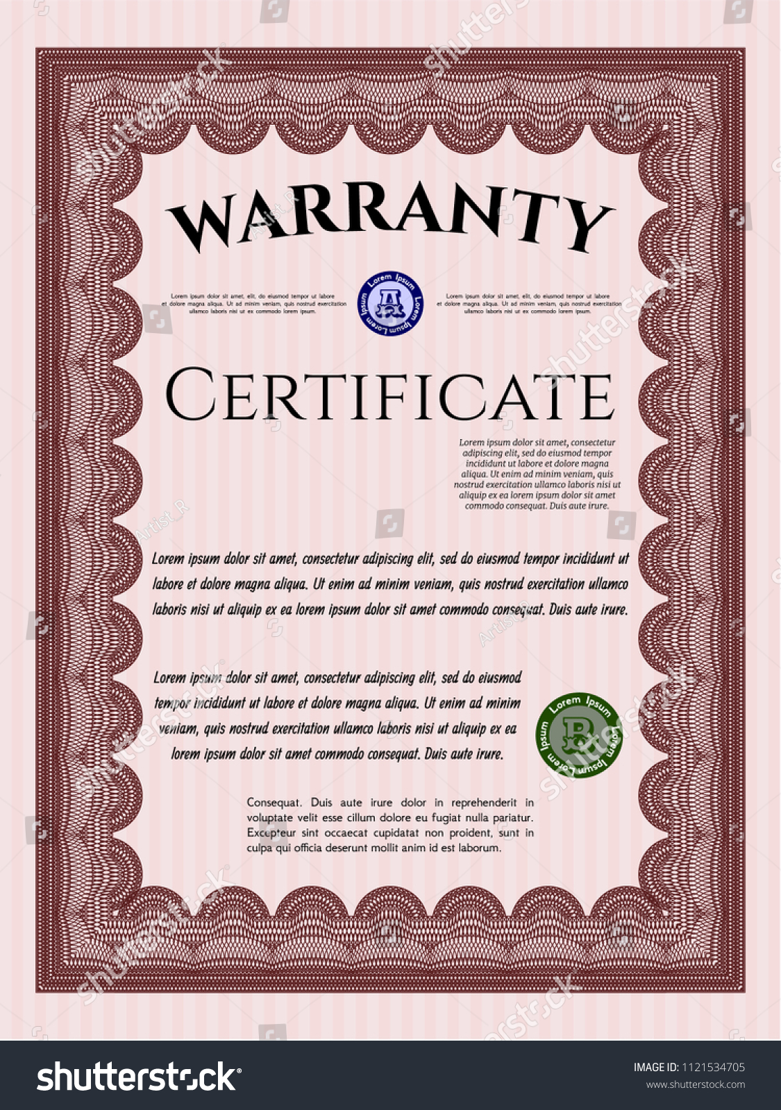 Red Vintage Warranty Certificate Template Nice Stock Vector Royalty
