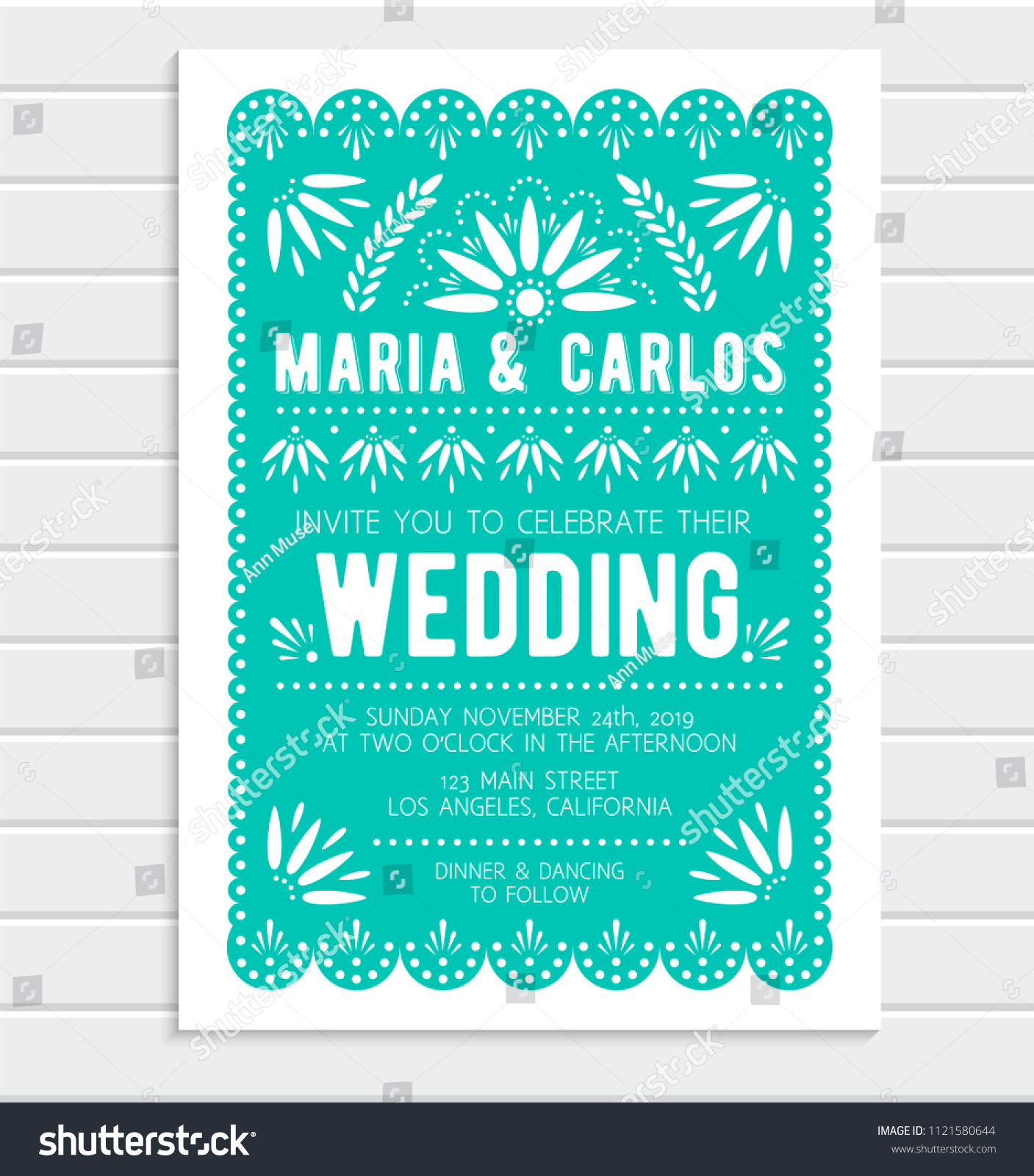Vector Wedding Invitation Template Papel Picado Banner With Floral Pattern Mexican Paper Cut Style: Mexican Wedding Invitation Backgrounds At Reisefeber.org