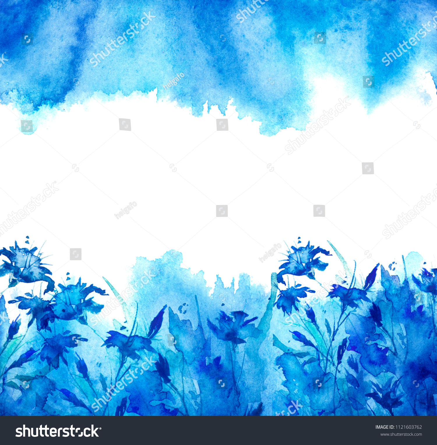 Watercolor bouquet blue flowers beautiful abstract stock watercolor bouquet of blue flowers beautiful abstract blue splash of paint cornflower blue izmirmasajfo