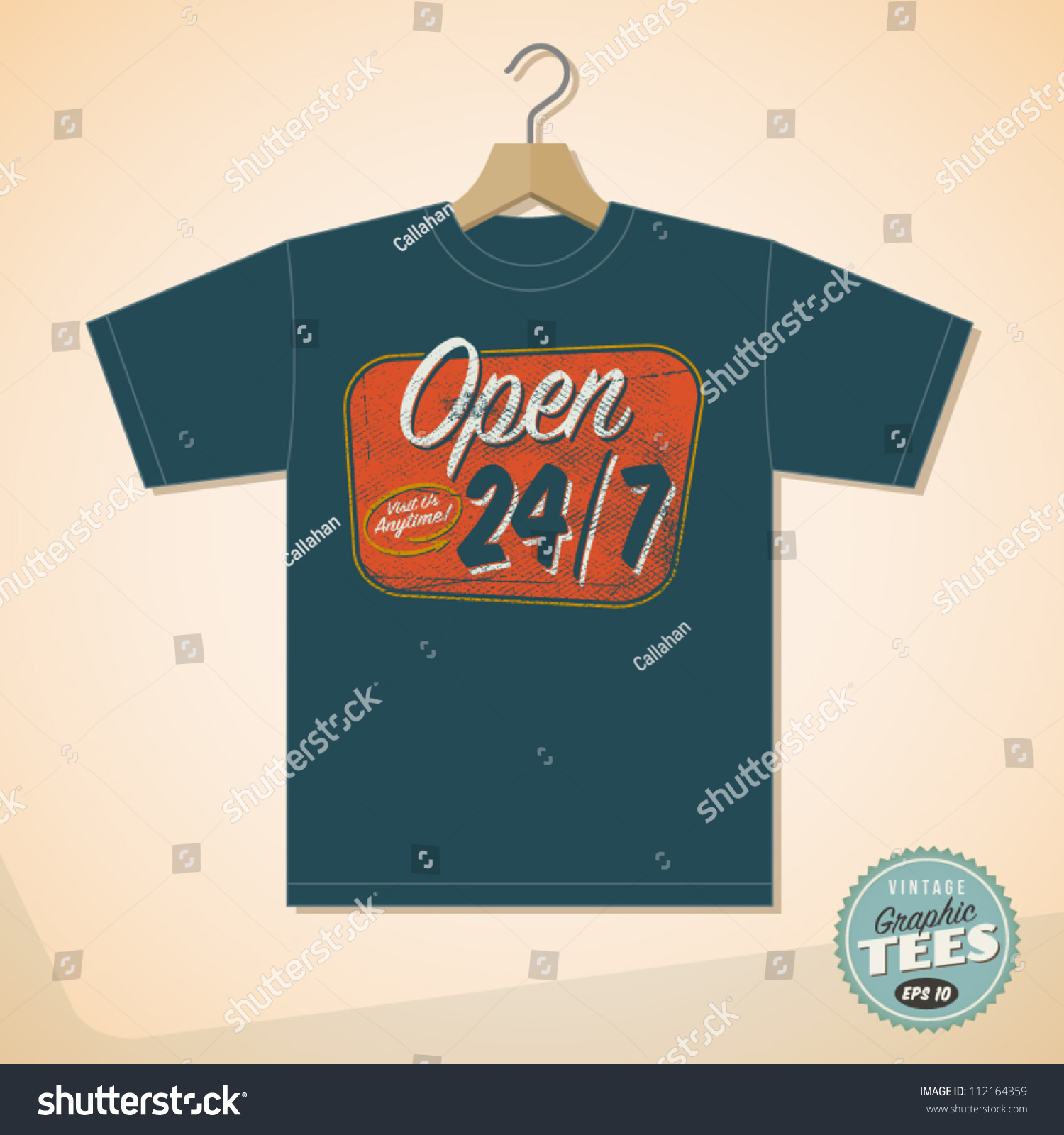 Shirt design eps - Vintage Graphic T Shirt Design Open 24 7 Vector Eps10 Grunge Effects Can Be Easily Removed For A Cleaner Look 112164359 Shutterstock