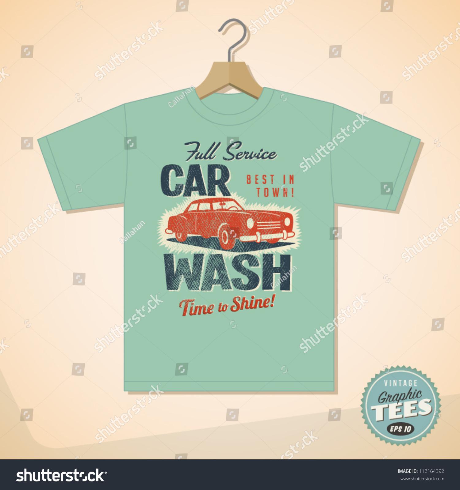 Shirt design eps - Vintage Graphic T Shirt Design Car Wash Vector Eps10 Grunge Effects Can