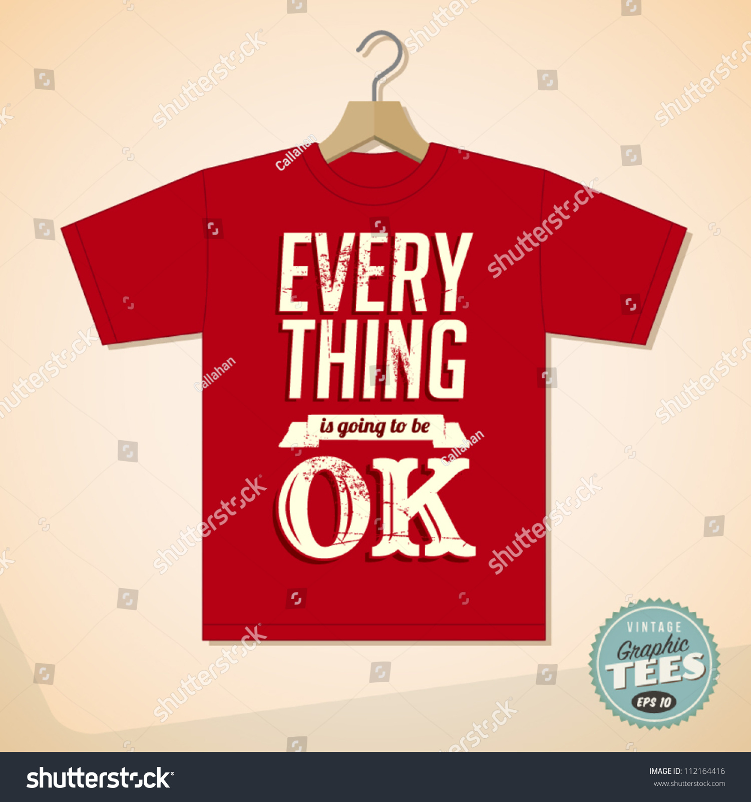 Shirt design vintage - Vintage Graphic T Shirt Design Everything Is Going To Be Ok Vector Eps10