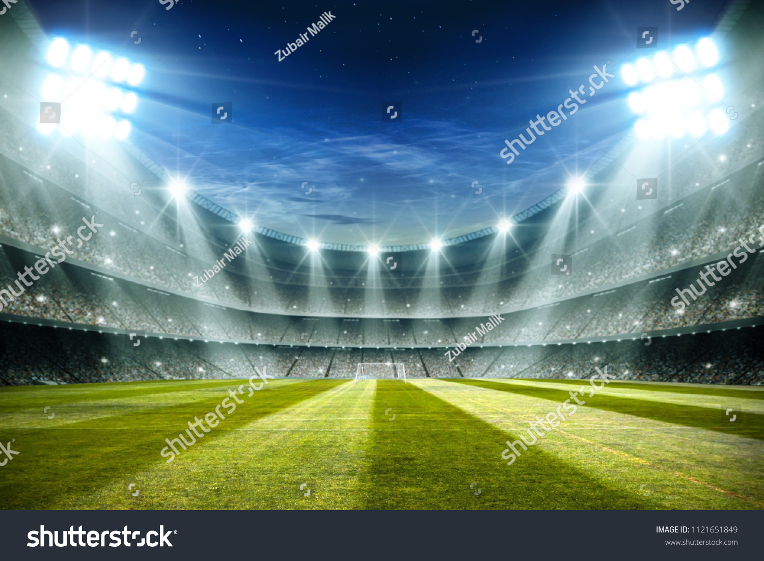 Lights at night and football stadium 3d rendering  #1121651849