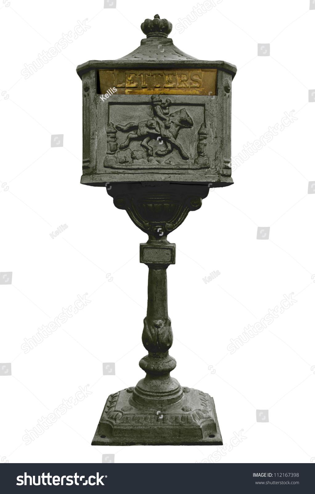 Vintage Cast Iron Mail Box Black Stock Photo 112167398