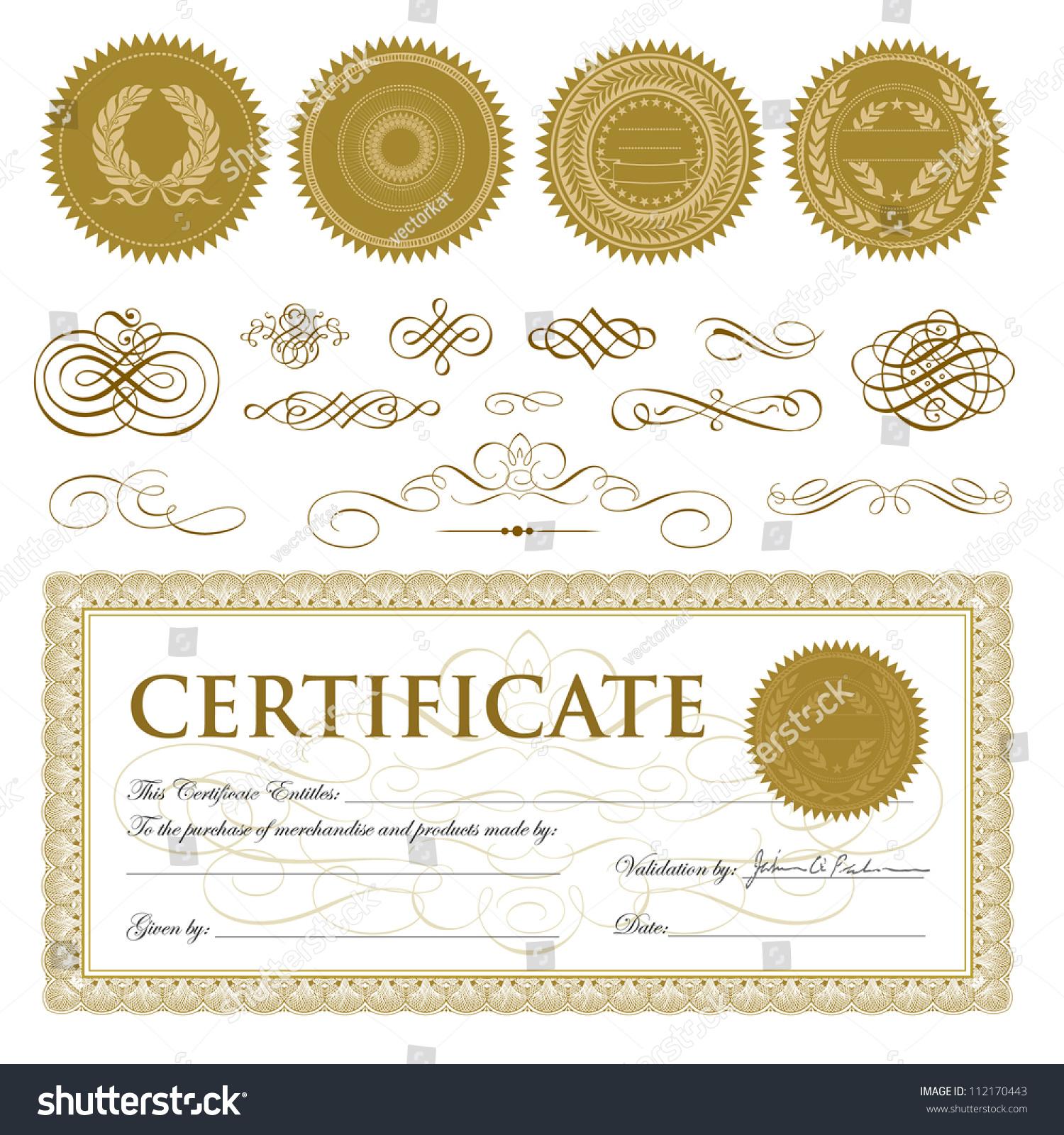 vector gift certificate seal set easy stock vector 112170443 vector gift certificate and seal set easy to edit