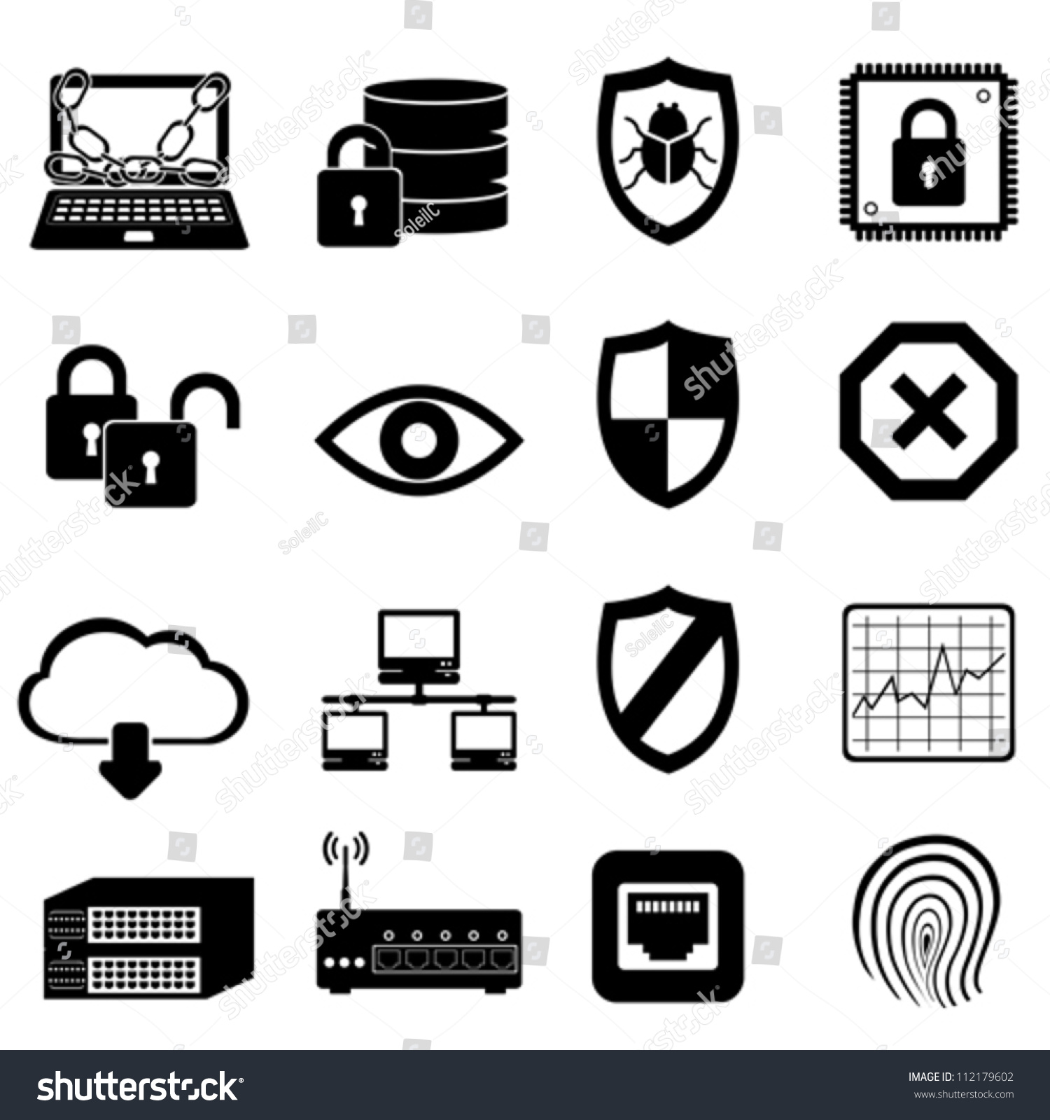 Network Computer Cyber Security Icon Set Stock Vector ...