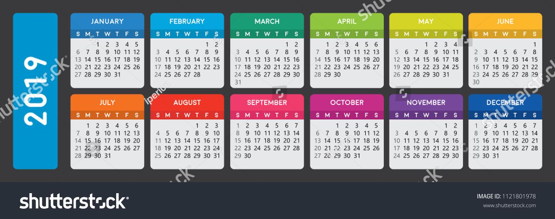 2019 Calendar Horizontal Calendar Template On Stock Vector Royalty