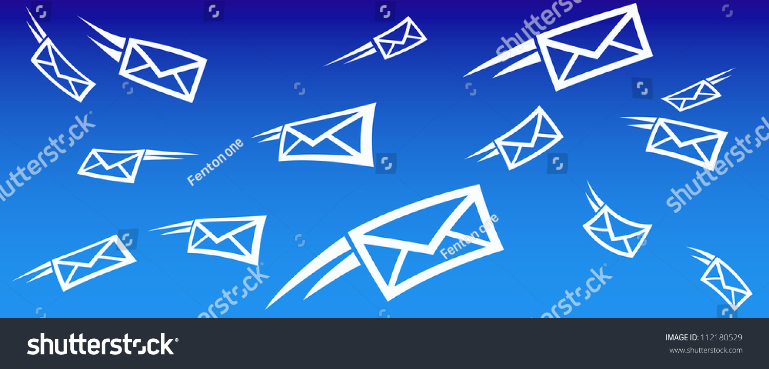 Email Background Concept Flying Mail Sms Stock Vector 112180529 ...