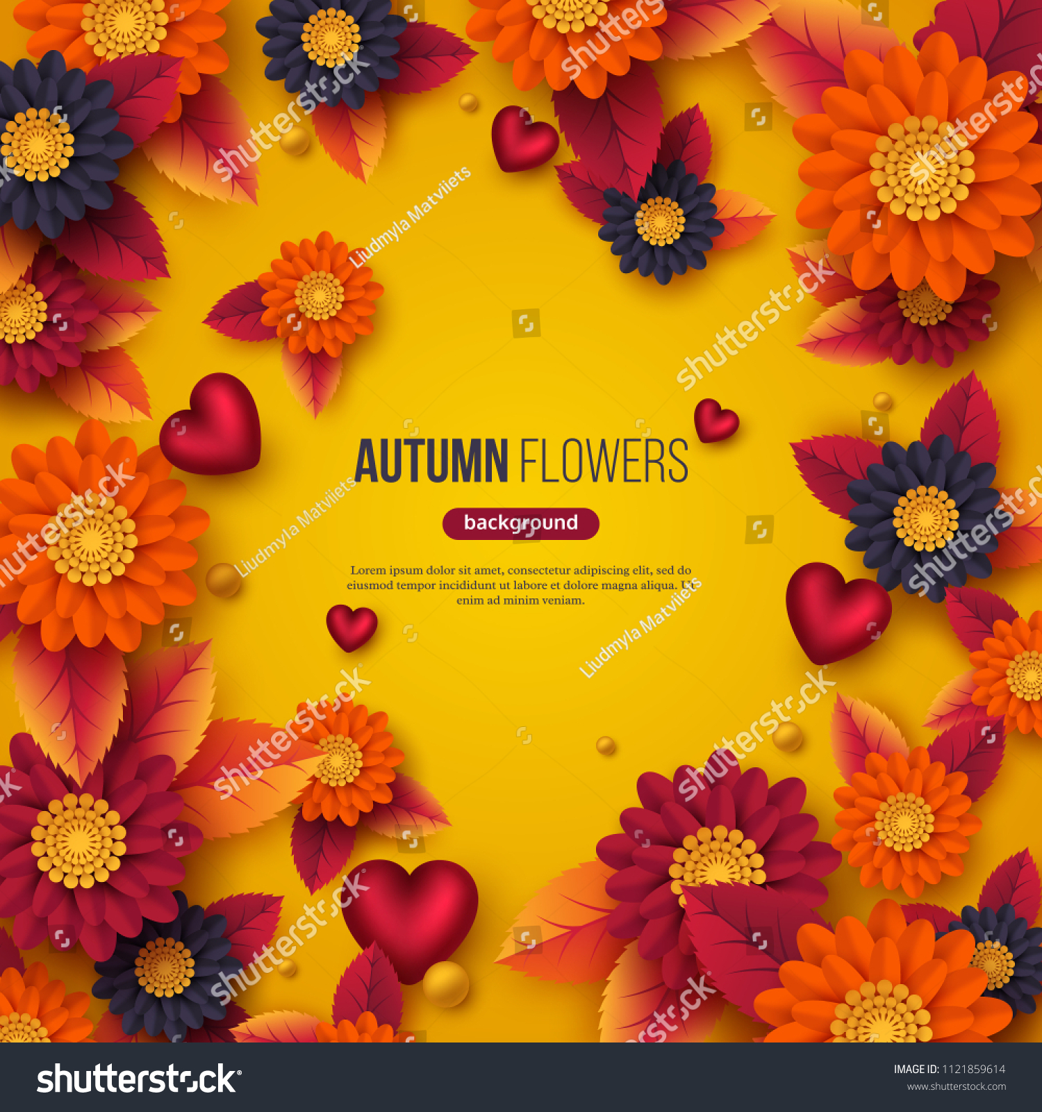 Floral Autumn Background 3 D Paper Cut Stock Vector Royalty Free