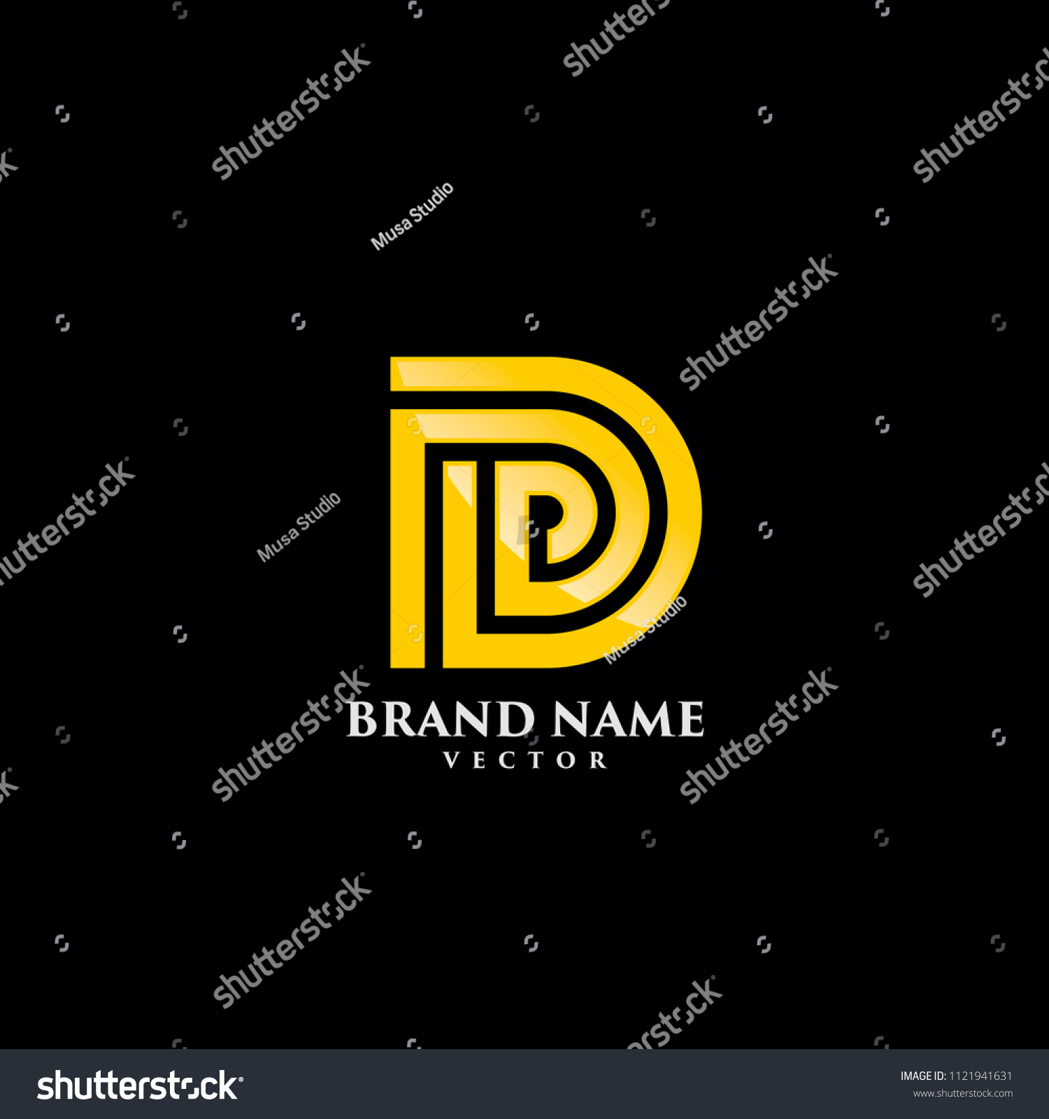 d letter gold monogram logo template stock vector royalty free