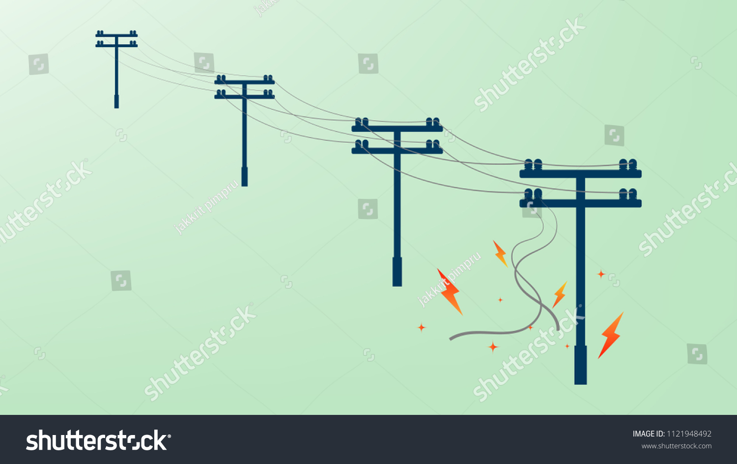 Power Cable Damaged Short Circuit Fire Stock Vector Royalty Free Transmission Line And With Spark On Electricity Post
