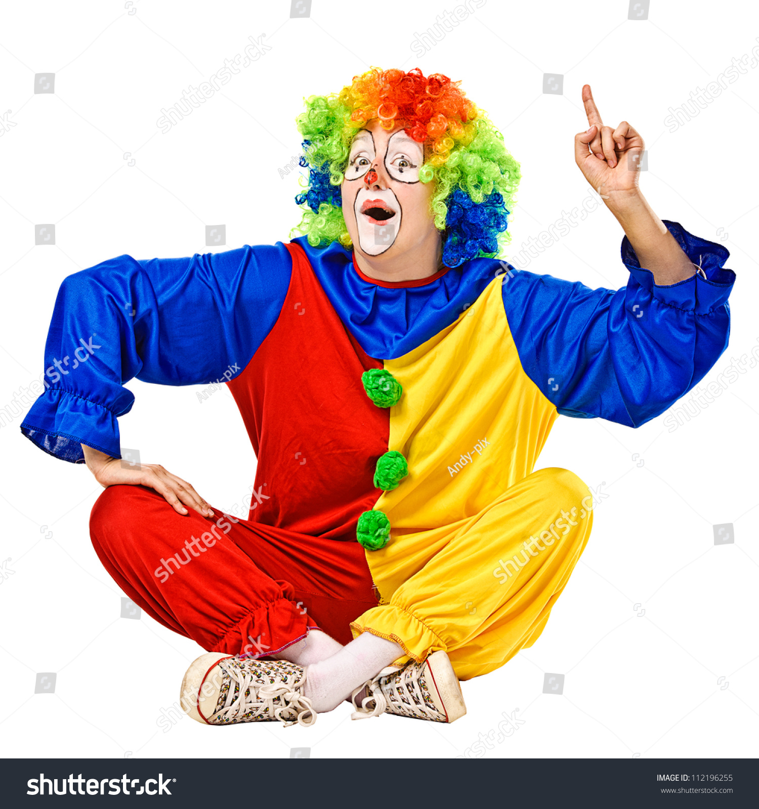 Happy birthday clown has an idea Isolated